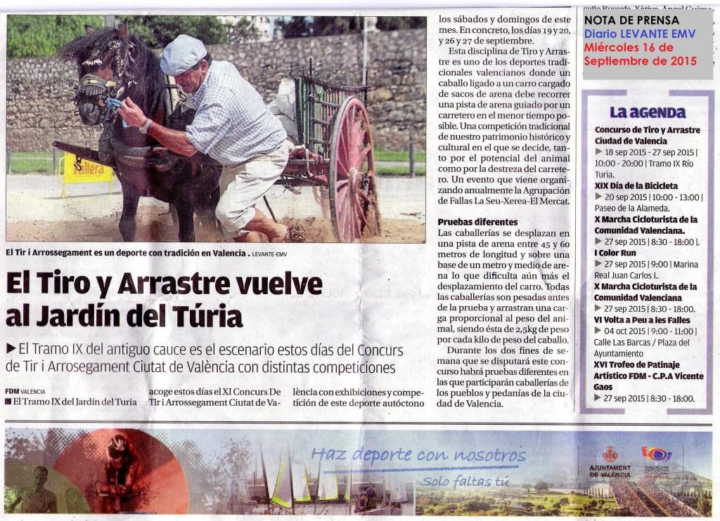 Nota de prensa Tiro valencia septiembre 2015