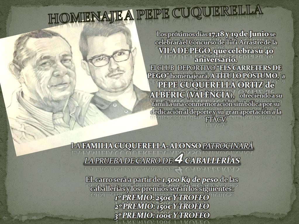 Homenaje a Pepe Cuquerella Pego junio 2016